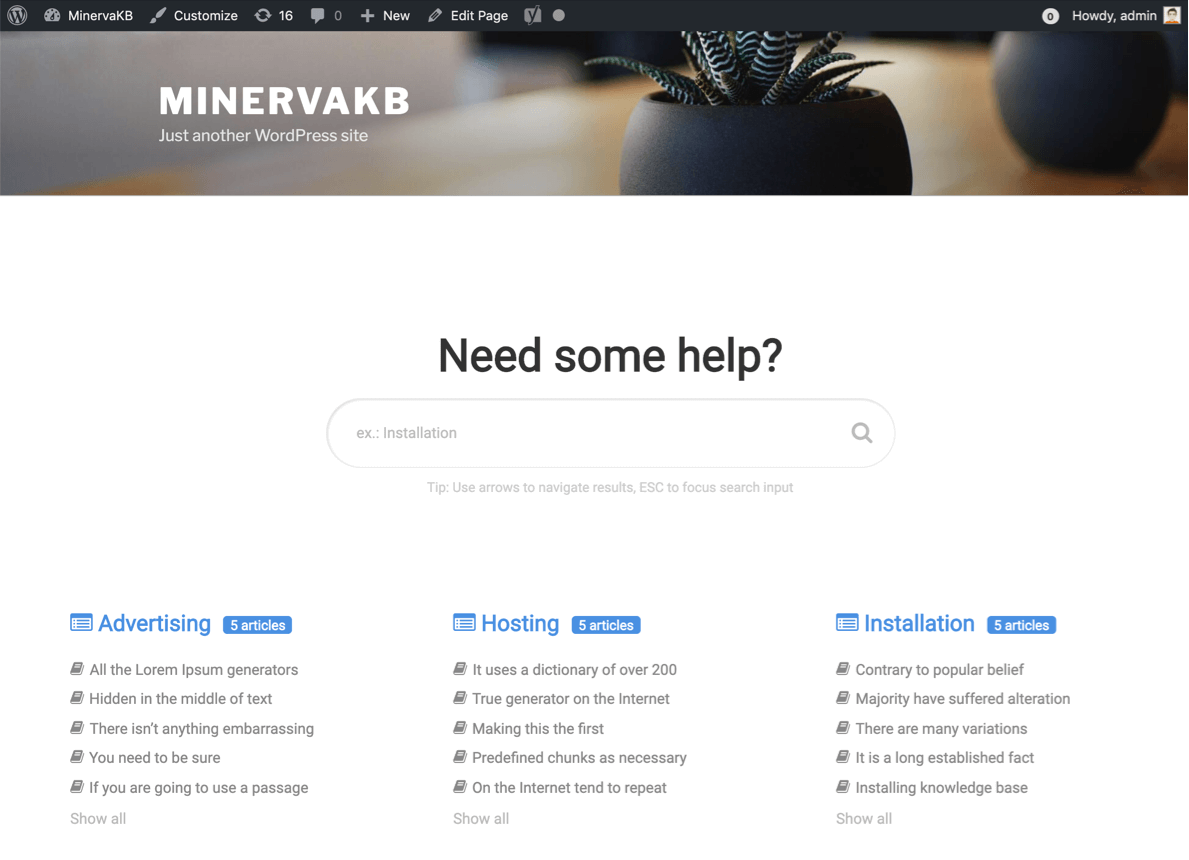 MinervaKB works with most popular themes